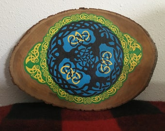Celtic tree hand painted