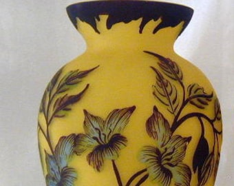 Vintage Tip Galle type Vase Romanian Handpainted Mouthblown