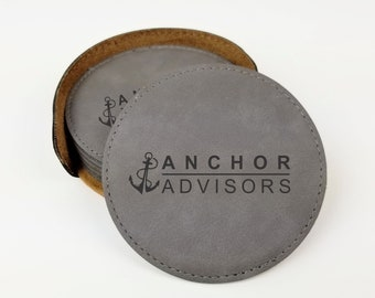"""Logo Engraved Coaster Set of 6 with Holder, Best Value Leatherette, Easy to Clean, Custom Corporate Gift, Custom 4"""" Coaster, with your Logo"""