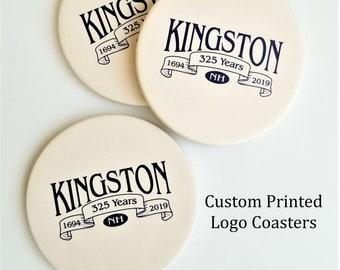 Ceramic Coasters, Personalized Coaster, Custom Logo Coaster Set, Corporate Gift with Logo, Family Name Coasters, Wedding Drink Coaster Favor