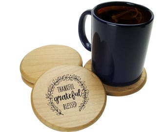 Wood Coaster, Set of 4, Thankful Grateful Blessed, Laser Engraved Wooden Coasters, Drink Coasters