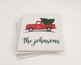 Ceramic Coasters, Personalized Coaster, Custom Familt Name Christmas Coaster Set, Family Name Coasters, Wedding Drink Coaster Favor