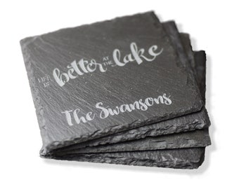Life is Better at the Lake, Personalized Slate Coaster Set, Slate Coasters, Stone Drink Coaster Set, Lake Life, By the Water, Beach Please