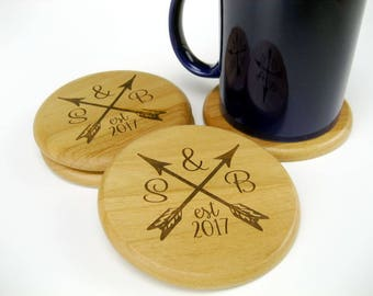 Wood Coasters, Wedding Gift, Set of 4 Personalized Coasters, New Home Gift, Logo Coaster, Wood Anniversary Gift, Alder Drink Coaster