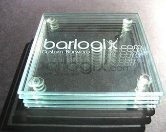 Logo Coasters Set of 4 Glass Coaster,  Personalized Glass Coasters,  Clear Glass Coasters, Logo Coaster Set, Custom Etch Glass Coaster