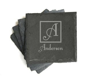 Family Name Engraved Slate Coasters, Monogram Set of 4 Coasters Personalized, Stone Coasters, House Warming Gift, New Home, for the Couple