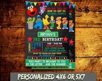 Sesame Street Invitation,Sesame Street Birthday Invitation,Sesame Street Printable,Sesame Invitation,Birthday Invitation