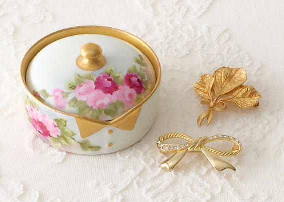 Antique Limoges Hand Painted Porcelain Dresser Box