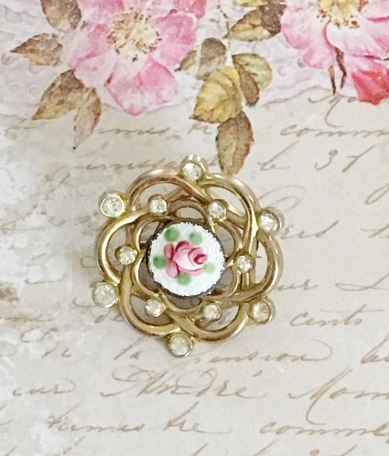 Vintage Rhinestone Guilloche Enamel Brooch, Floral Pin, Pink Rose on White  Enamel, Gold Tone Guilloche Jewelry