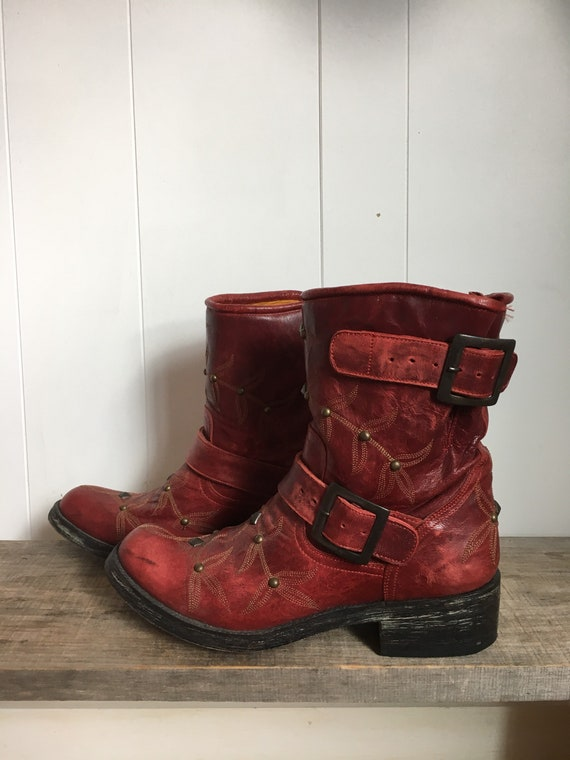 Red Leather Studded Cowboy Boots