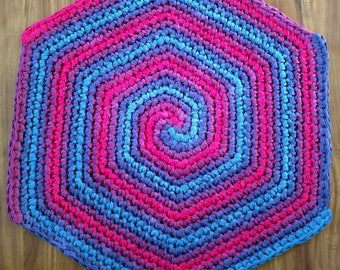 Wild Berry Zinger: hand-dyed, crocheted muslin rug. This ain't your average grannie rag rug. This is art in a useful form. No Rugrets!