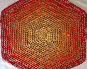 Santa Rosa Sunrise: hand-dyed, crocheted muslin rug. This ain't your average grannie rag rug. This is art in a useful form. No Rugrets!