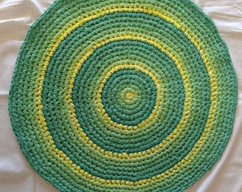 Homemade Sprite: hand-dyed, crocheted muslin rug. This ain't your average grannie rag rug. This is art in a useful form. No Rugrets!