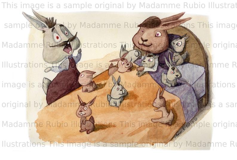 RABBIT family printable animal illustration WALLART image 0