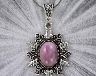 Kunzite Gemstone Pendant in an Alloyed Silver Setting with a chain