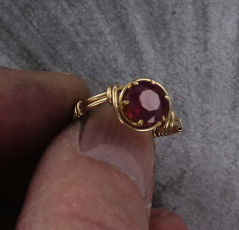 Amethyst Gemstone Ring in 14kt Rolled Gold  Wire Wrapped  Size 5 to 15