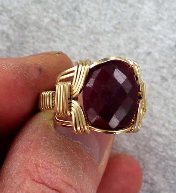 Rolled Gold  Size 5 to 15  Wire Wrapped Amethyst Gemstone Ring in 14kt