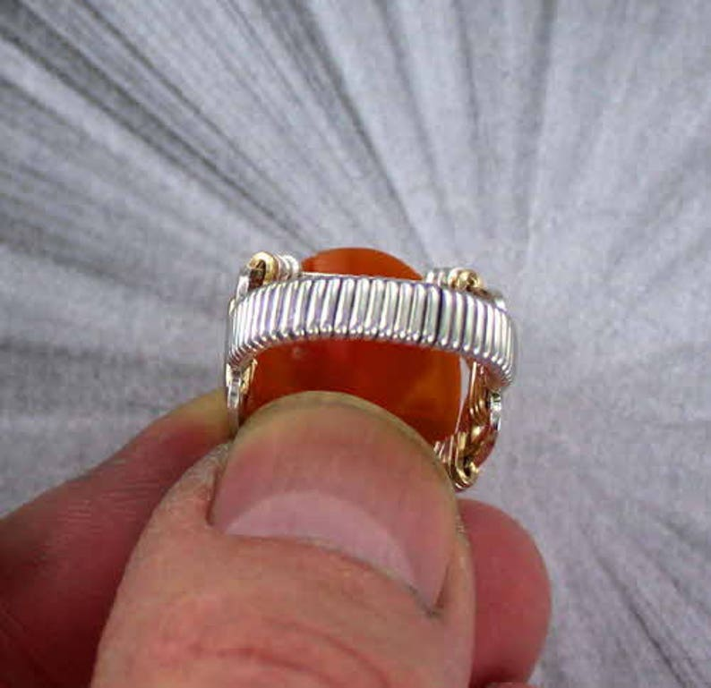 ---- Vintage Shell Cameo Ring In Sterling Silver and 14kt Rolled Gold Wire Wrapped Sizes 5 to 15 cameo jewelry