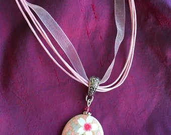 Washi paper necklace - pink & silver floral