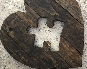 Personalised Laser Cut Interlocking Puzzle Heart Autism Aware Ply Wood Craft