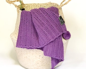 Purple Cotton Hand Crochet Baby Blanket with Pom Poms