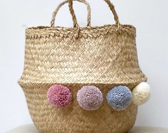 Seagrass pompom storage natural belly basket with handles, foldable, for home, picnic, flower or plant pot, beach bag, laundry or bedroom