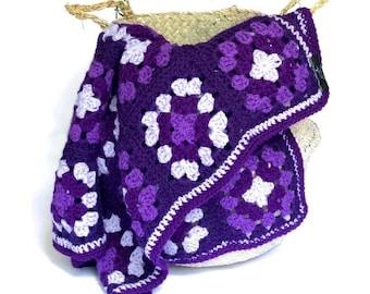 Purple Hand Crocheted Stroller Granny Square Blanket