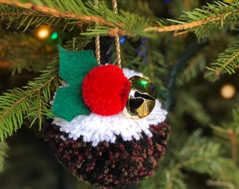 Luxury large Christmas pudding pompom with bell, ivy and gold thread for your tree and home decor, perfect secret Santa gift