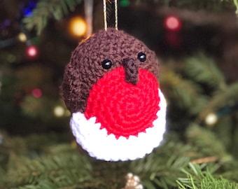 Robin Redbreast crochet Christmas tree decoration, heirloom keepsake