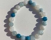 Communication Clarity Blue Apatite, Moonstone, and Aquamarine beaded bracelet