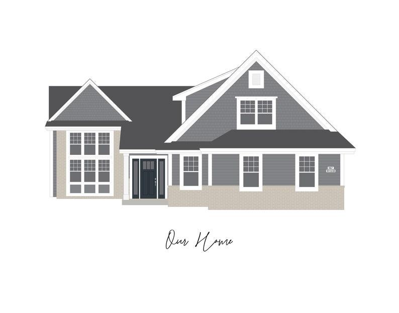 Custom House Digital Illustration  Wedding Gift Personalized image 0