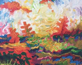 "Fedir Panchuk original oil painting on canvas ""Three spruce"""