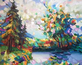 "Fedir Panchuk original oil painting on canvas ""Autumn in me"""