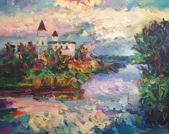 "Fedir Panchuk original oil painting on canvas ""Brailovskiy Monastery"""