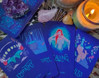Oracle Deck Moon Glow Rituals Green Magic witchcraft tarot cards indie art deck gift present idea cottage core aesthetic lover grimoire book