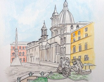 "Piazza Navona, Rome, original watercolor painting, 11""x15"", urban sketching"