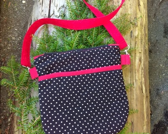 Polka dot with red strap