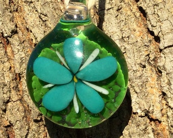 Handmade Glass Pendant, Blue Flower Pendant, Heady Glass Pendant, Boro Glass Pendant, Handblown Glass Pendant