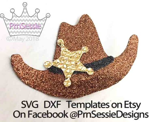 Digital SVG DXF PDF Cowboy Hat Hair Clip Template
