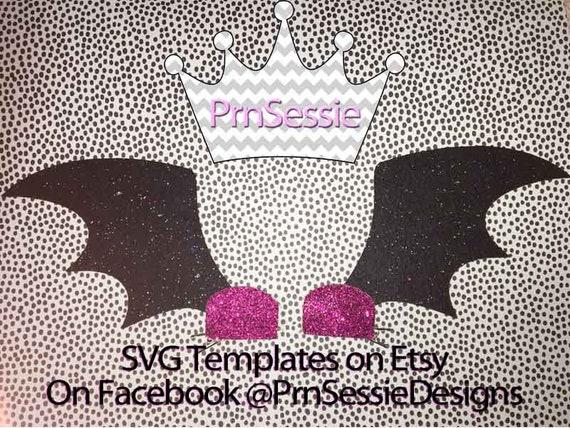digital svg dxf pdf bat wings hair clip template etsy