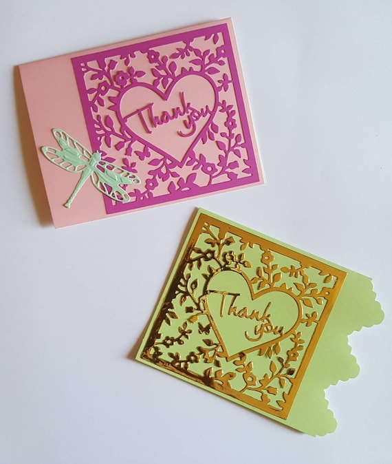 Thank You Cards 2 Die Cut Cards In A Holder Etsy