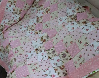 patchwork,quilt,handmade,a gift to a woman, soft pink,for a bedroom,handmade,patchwork,girl, for a girl,interior,design