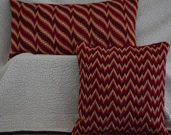 Vintage Hand Made Needlepoint Bargello Pillows:  Red Flame Motif