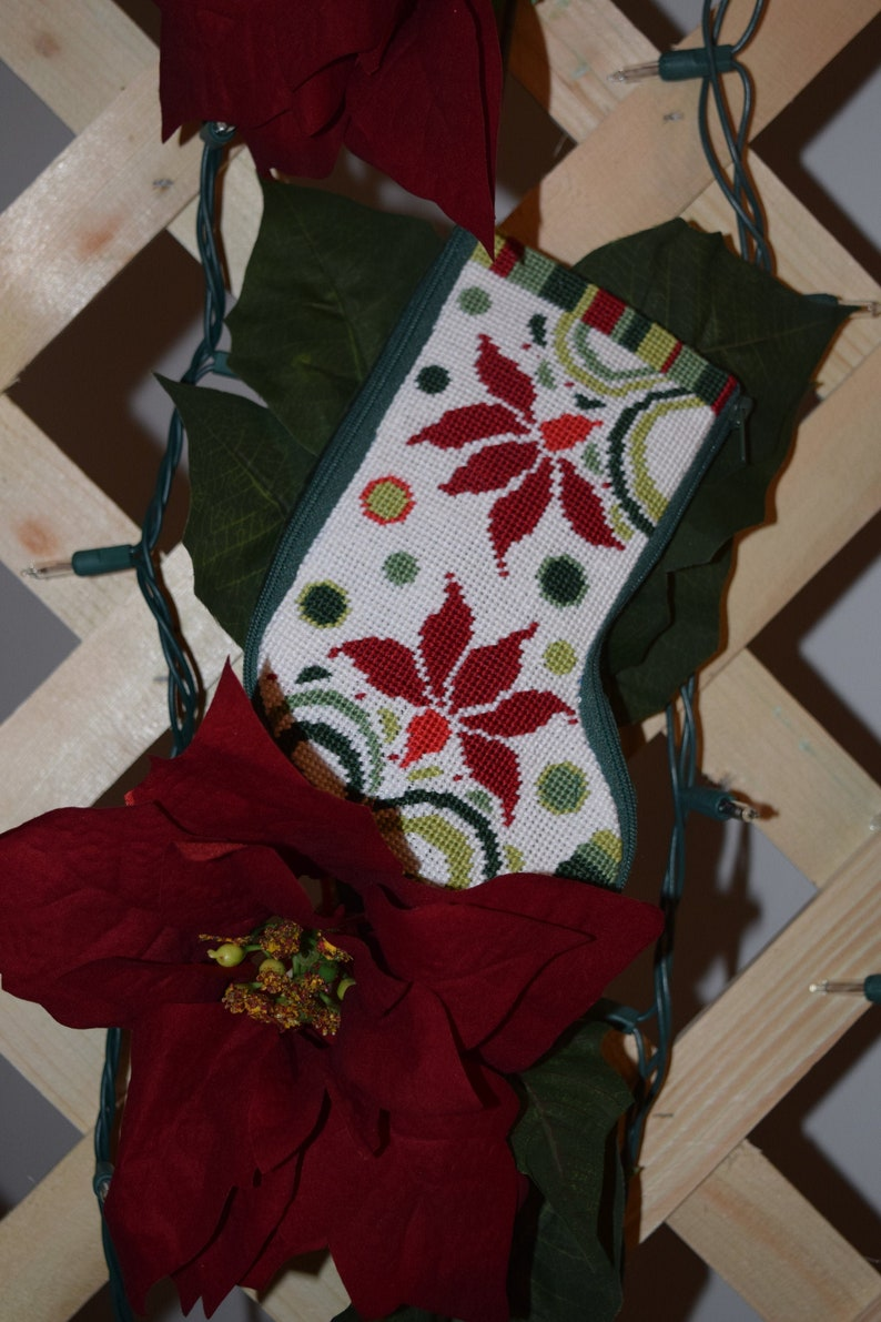 Completed Needlepoint Small Christmas Stocking Modern Poinsettia or Cardinals