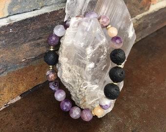 Essential Oil Bracelet Oil Diffuser Amethyst Gemstone Lava Stone Beaded Bracelet Jewelry Gift