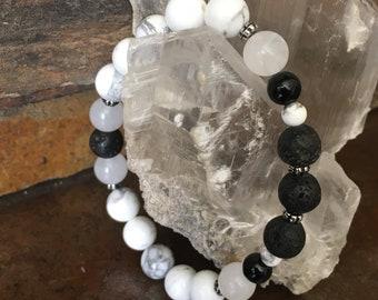 Essential Oils Bracelet Oil Diffuser Howlite Snow Quartz Gemstone Lava Stone Beaded Bracelet