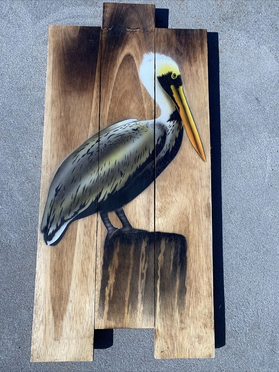 """20"""" BROWN PELICAN ON PILING HAND CARVED WOOD TROPICAL SCULPTURE BIRD DECOR"""