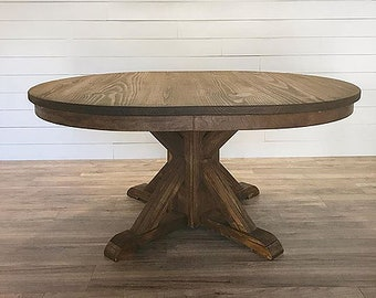 Farmhouse Dining Table   Post And Beam Round/Oval