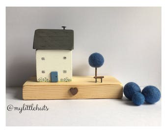 Forget Me Not Cottage. Wooden House. Handmade. Hand painted. Myosotis.