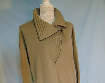 Coat dress with asymmetrical front collar detail